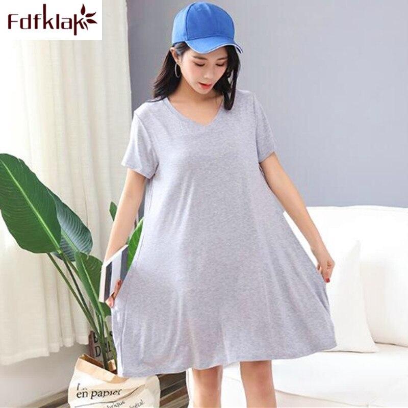 Summer nightgown women sleepwear casual night gown female nightdress lounge loose nightshirt modal cotton women's night dress