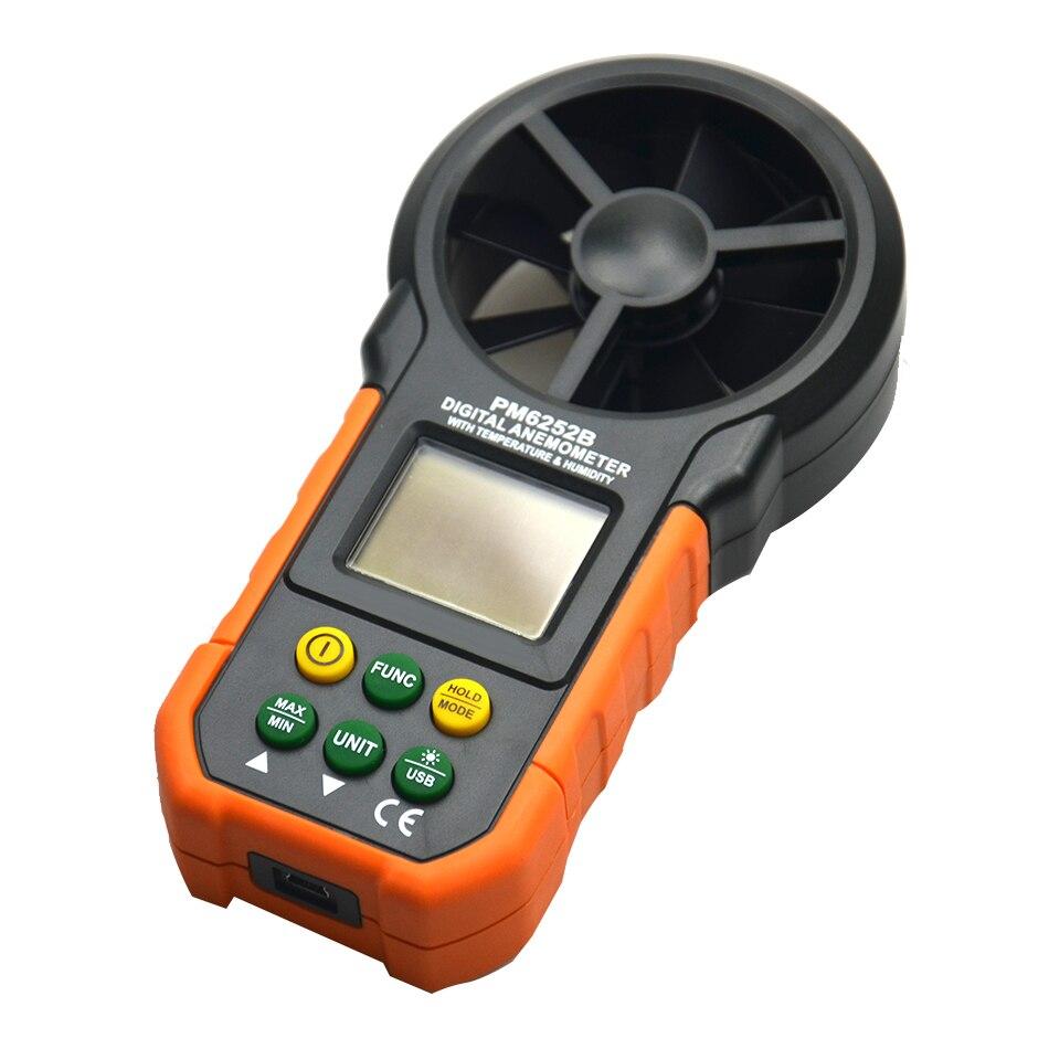 PM6252B Digital Anemometer T&Rh Sensor Air Wind Speed Velocity Meter USB Interface