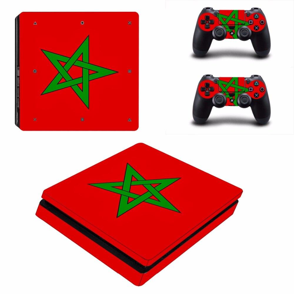 Bandera Nacional de Marruecos PS4 pegatina de recubrimiento delgada para Sony PlayStation 4 consola y controlador para Dualshock 4 pegatina de PS4 Slim calcomanía