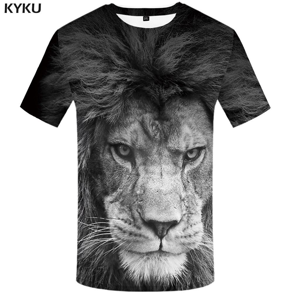 Мужская футболка KYKU, черная и белая забавная футболка с 3d принтом