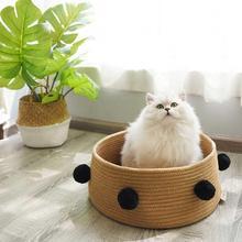AsyPets-lit pour animaux de compagnie   Mignon, en forme ronde, toutes saisons, repos pour chats, petits chiens chats