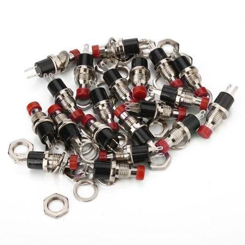 Un paquete de 20 piezas, minibotón de encendido/apagado momentáneo, microinterruptor de 0,5 a rojo