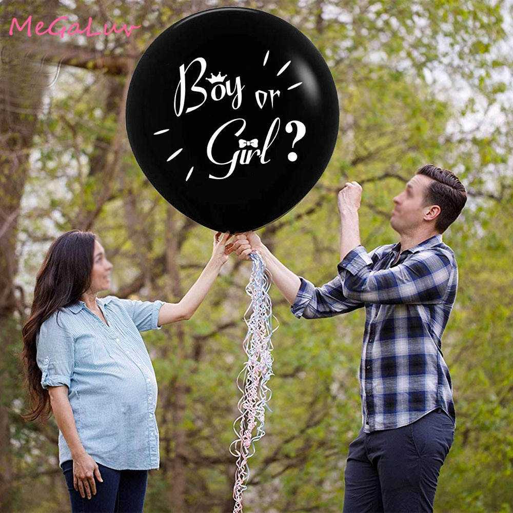 Jumbo 36 pulgadas bebé género revelan globo negro grande globos con rosa y azul confeti niño o niña bebé ducha fiesta suministros