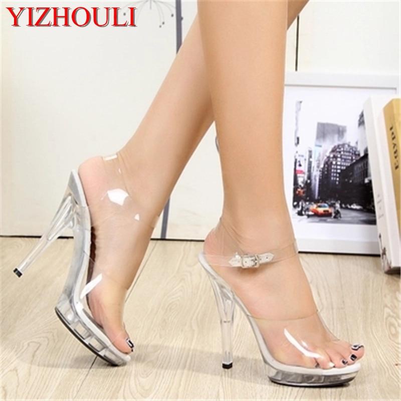 5 zoll dicken sandalen, transparente plattform stilvolle romantische kristall hochzeit party schuhe, 13 cm hohe ferse sandalen