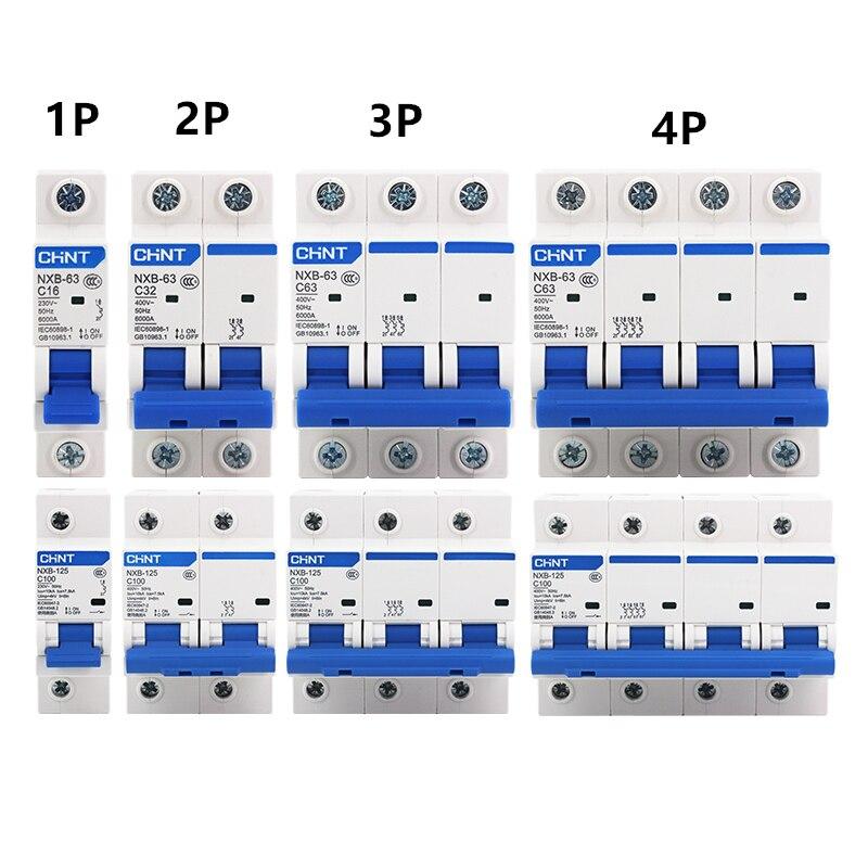 Envío Gratis CHNT NXB-63 disyuntor pequeño DZ47 interruptor de aire 1P 2P 3P 4P 1A ~ 125A tipo C hogar interruptor de seguridad