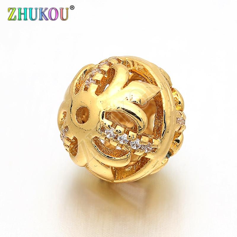 Круглые бусины-разделители 14 мм из латуни с кубическим цирконием, для самостоятельного изготовления ювелирных браслетов, ожерелий, отверст...