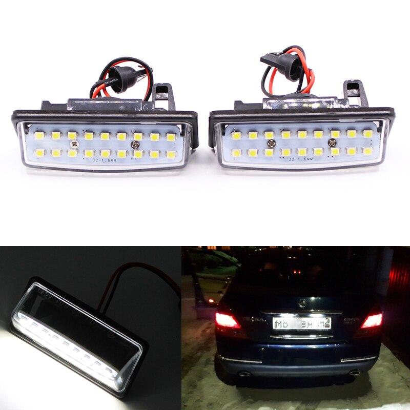 2 uds. Lámparas luz LED de matrícula xenón blanco 18SMD para Nissan Altima Maxima Murano Infiniti JX35 QX60