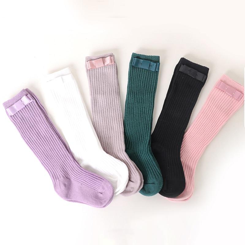 Calcetines de moda para niños con lazos, calcetines para niñas hasta la rodilla, calcetines largos de algodón para niños pequeños, calcetín de baile para niños, calcetines infantiles