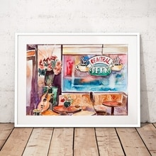 Vrienden TV Show Canvas Schilderij Wall Art Prints, Aquarel Central Perk Foto Vrienden TV Show Poster Home Decor