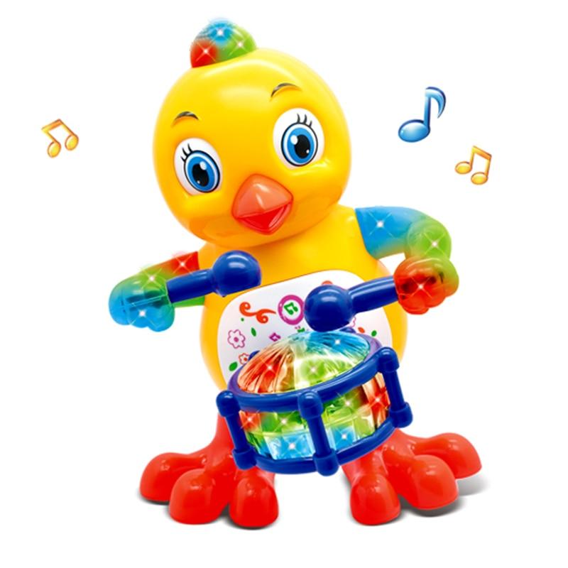 Веселый барабанщик, пение и танцы, курица, игрушки для детей, Детский телефон, мигающий барабан, поющие игрушки, музыкальные игрушки, детский...