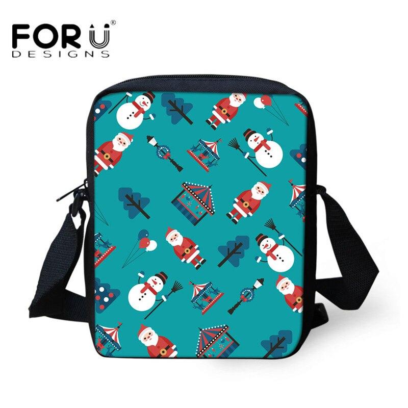 FORUDESIGNS 2018 nuevas bolsas de mensajero de Feliz Navidad para mujeres Mini bolso cruzado para niñas y niños bolso de hombro de viaje de moda