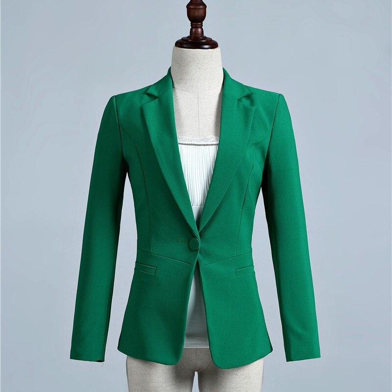 Spring Fall Novelty Green Slim Formal Blazer Women Outerwear Jackets Office Uniform Designs Female Blaser OL Styles Tops