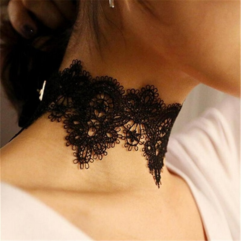 Vintage flor larga preto branco gargantilha colar gótico curto colar para as mulheres nova moda jóias
