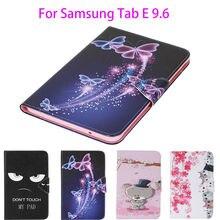 Étui en cuir peint pour Samsung Galaxy Tab E 9.6 T560 T561 étui de SM-T560 housse tablette dessin animé fleurs fentes pour cartes portefeuille coque