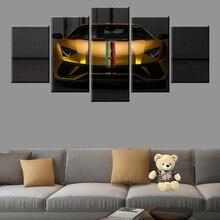 5 panel leinwand malerei auto bild sport auto Lamborghini kunst poster wohnzimmer schlafzimmer wand dekoration bild modulare