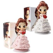 14cm Q Posket Belle et bête Figures Belle en robe de mariée Style rêveur blanc rose beauté modèle poupées