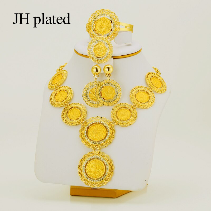 JHplated арабский Набор монет Турецкая бижутерия монеты турки ожерелье/серьги/Кольцо/браслет