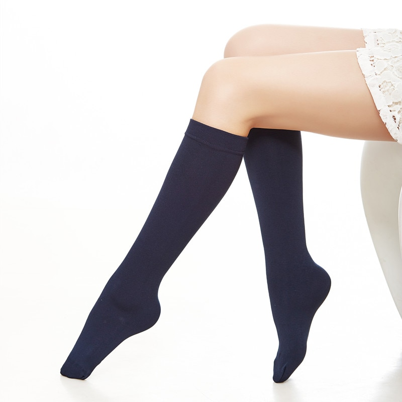 2303 6 Pair Women 150D Thick Thermal Fleece Lined Knee High Socks Ladys 150D Warm Over the Knee Socks Girls Winter Knee Socks