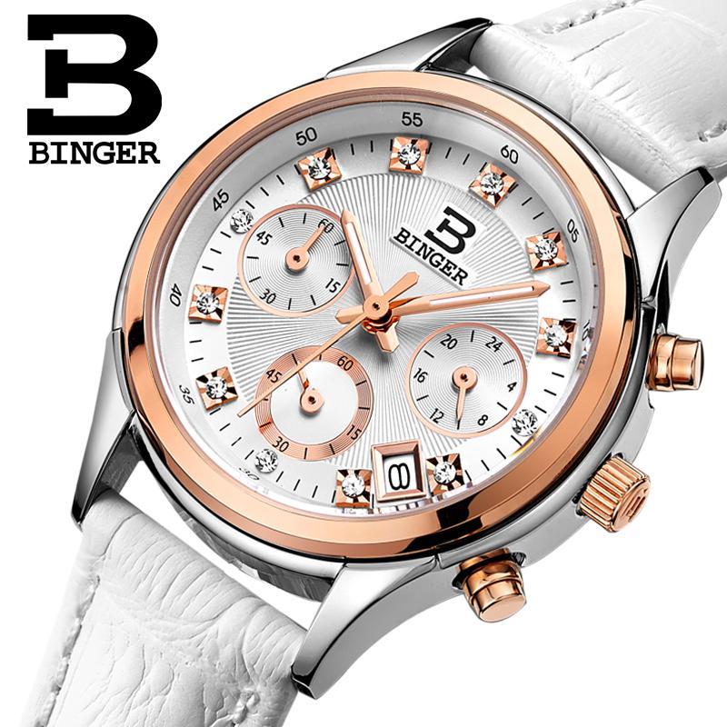Binger relógios femininos suíça luxo quartzo à prova dclock água relógio feminino pulseira de couro genuíno cronógrafo relógios de pulso BG6019-W6