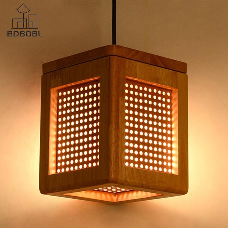 BDBQBL الخشب قلادة أضواء ساحة لوفت ديكور معلق مصباح E27 تركيبات إضاءة لغرفة المعيشة قاعة الطعام دراسة بار Dia15cm