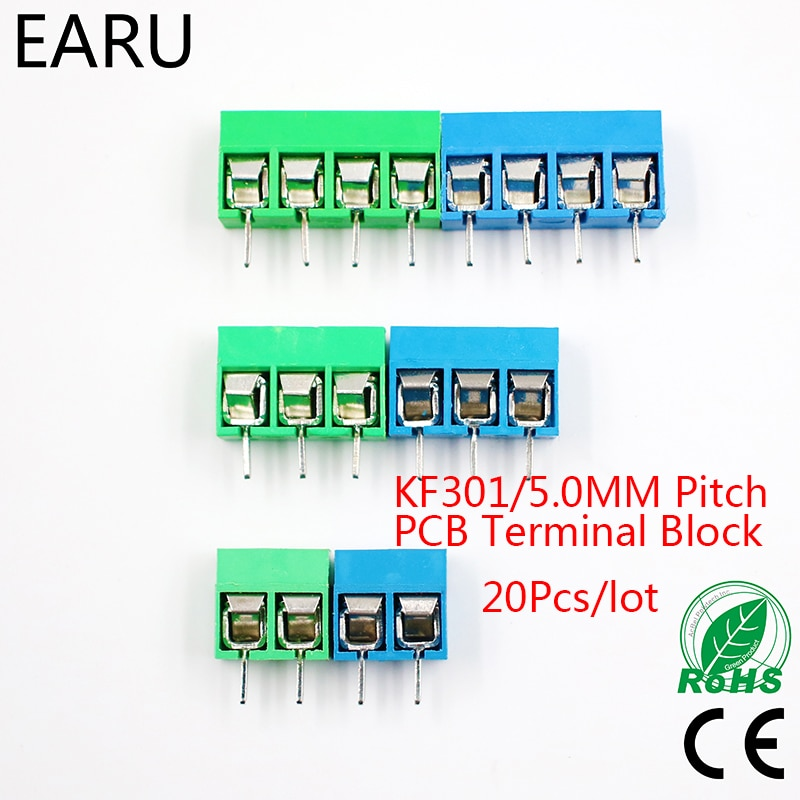 20Pcs/lot KF301-5.0-2P KF301-3P KF301-4P Pitch 5.0mm Straight Pin 2P 3P 4P Screw PCB Terminal Block Connector Blue Green