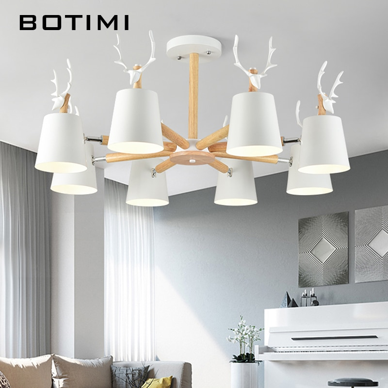 Iluminación led de araña moderna BOTIMI para sala de estar, lámpara de techo de Metal negro con forma de ciervo de madera, lámparas de araña blancas para dormitorio