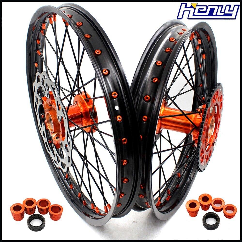 21/18 Enduro Casting Wheel Set Motorcycle For KTM EXC EXCF 125CC-530CC 2003-2019 Rim Black Spoke Discs