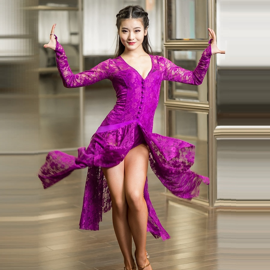 فساتين الرقص اللاتينية من الدانتيل الأرجواني للرقص اللاتينية للنساء أزياء الرقص الحديثة للرقص السالسا رومبا