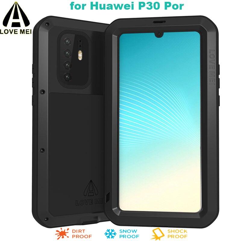 Para Huawei P30 Por LOVE MEI funda Gorilla Glass Life resistente al agua a prueba de golpes Metal Full Protectve funda para Huawey P30 + funda de teléfono