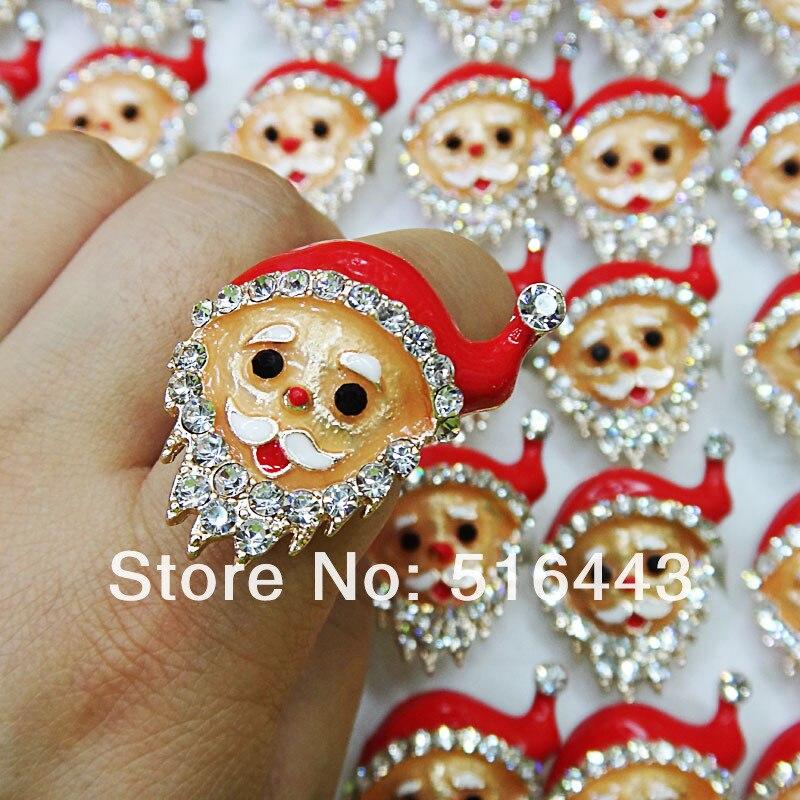 Venta caliente 18 K oro P hombres mujeres esmalte circón diamantes de imitación Santa Claus anillos regalos de navidad venta al por mayor joyería lotes A-550