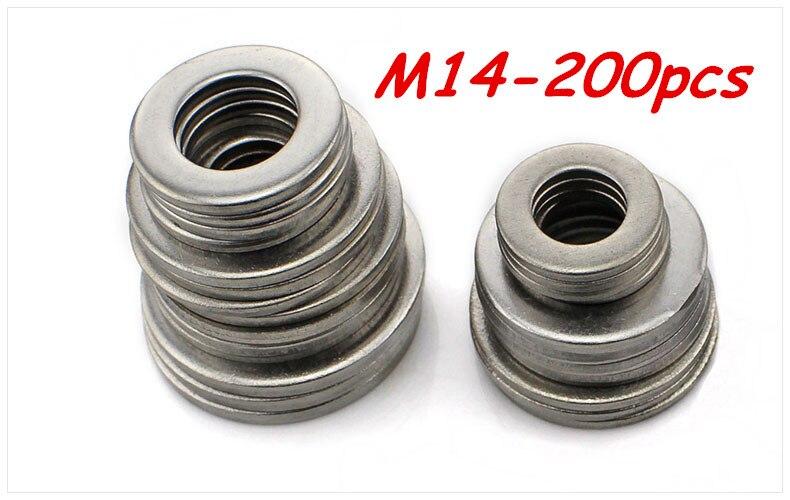 Free shipping 200pcs M14 304 Stainless Steel Flat Washer Plain Washer Flat gasket