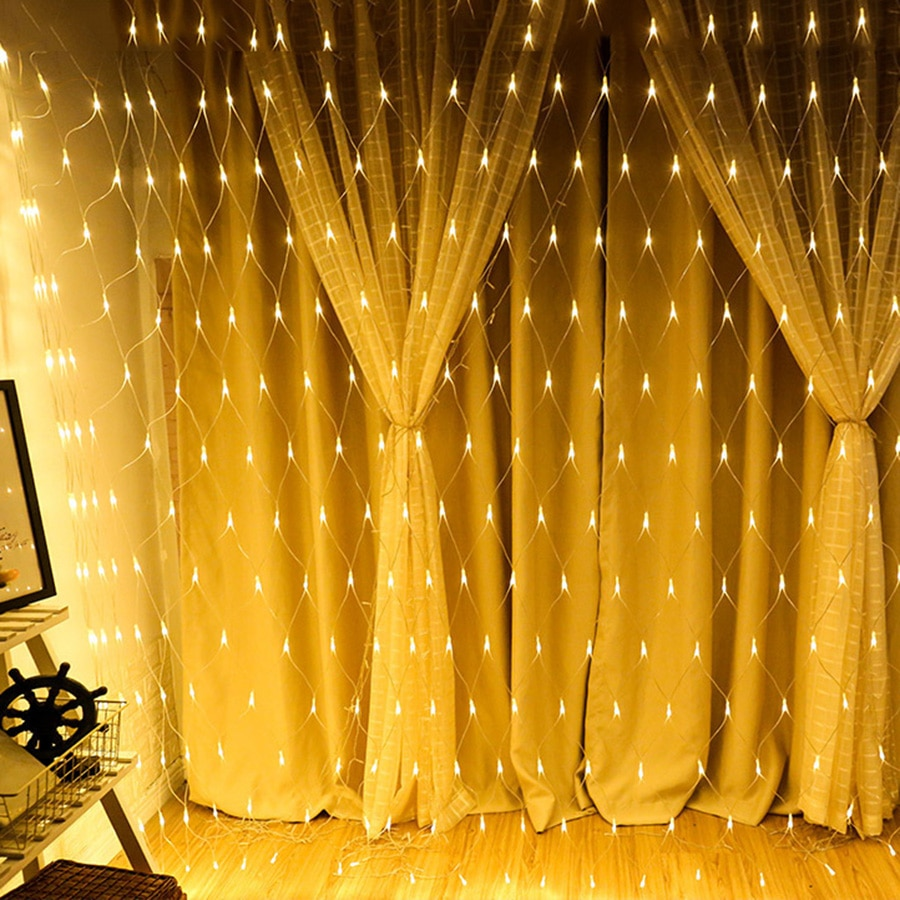 BEIAIDI 2x2M 3x2M 6x4M cortina de ventana Icicle LED Cadena de luz al aire libre boda Navidad LED malla red Hada cadena guirnalda Luz
