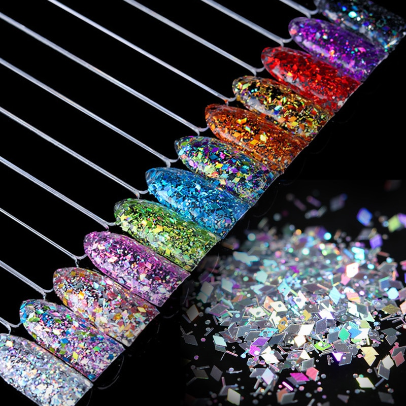 Rhombus Nail Flakies Glitter Sequins Paillette Colorful Nail Art Flakes  Tips Decoration 1 Box