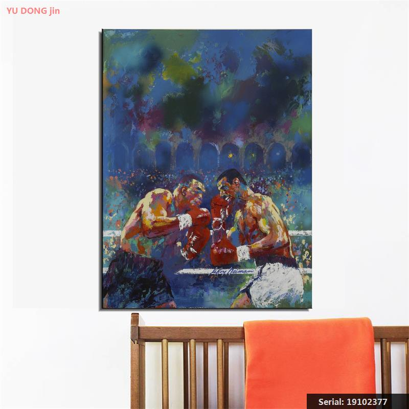 LEROY NEIMAN b1927 Americano Tyson vs Spinks Uma Vez e Para Todos Retrato Abstrato Pintura A óleo Desenho arte Spray Canvas19102377