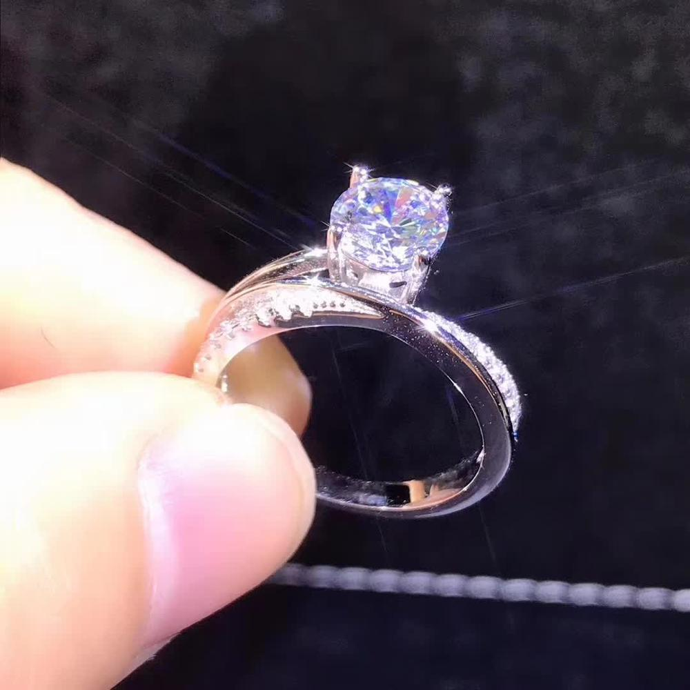 1ct Carat Moissanite Rings for Women S925 Sterling Silver Platinum Plated Female Engagement Rings D Color Fine Jewelry