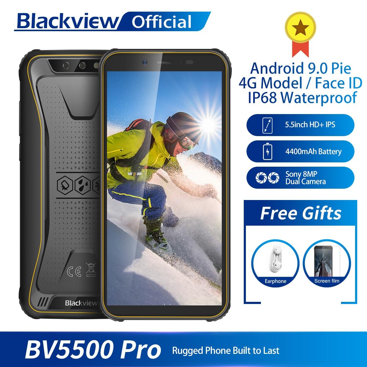 Мобильный телефон Blackview BV5500 Pro 4G, влагозащита IP68, 3 ГБ+16 ГБ, экран 5,5 дюйма, 4400 мАч, на базе Android 9.0 Pie, поддержка двух SIM-карт, защищенный смартфон