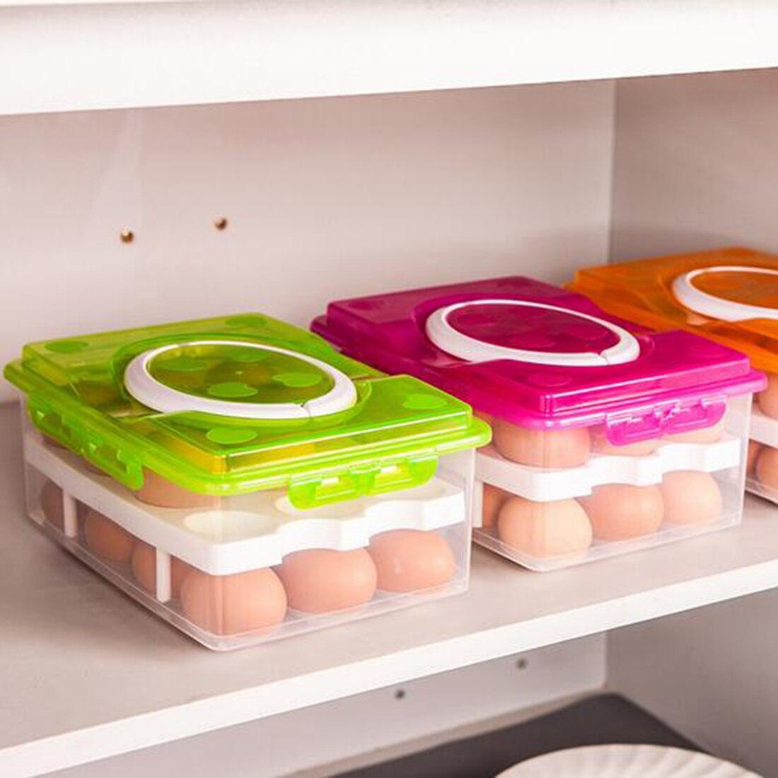 3 colores 2 capas 24 agujeros plástico huevo titular caja de almacenamiento cesta organizador contenedor de alimentos
