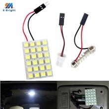 YM E-Helle 100 stücke Panel Lichter 5050 24 SMD LED Auto Leuchtet Girlande Dome Birne Automobil 12V girlande + T10 Adapter Kühlen Weiß