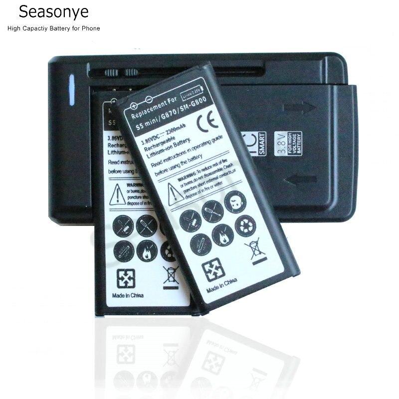 Seasonye 2x2300 mAh EB-BG800BBE reemplazo de la batería + cargador Universal para Samsung Galaxy SV Mini S5 mini G870 SM-G800F g800
