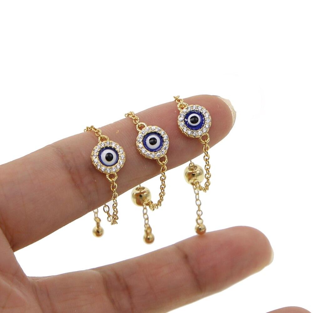 Rodada disco bluel esmalte turkish evil eye charme cadeia anel barato por atacado de moda anéis de dedo