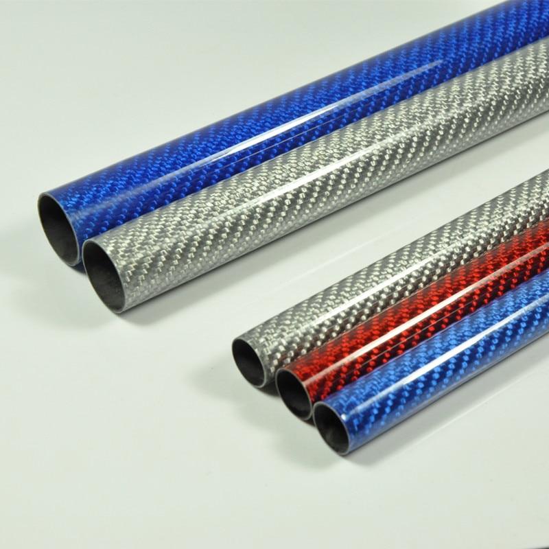 Трубка из углеродного волокна, глянцевая поверхность 3 K, длина 1000 мм, синий, красный, серебристый цвет, 2 шт./лот