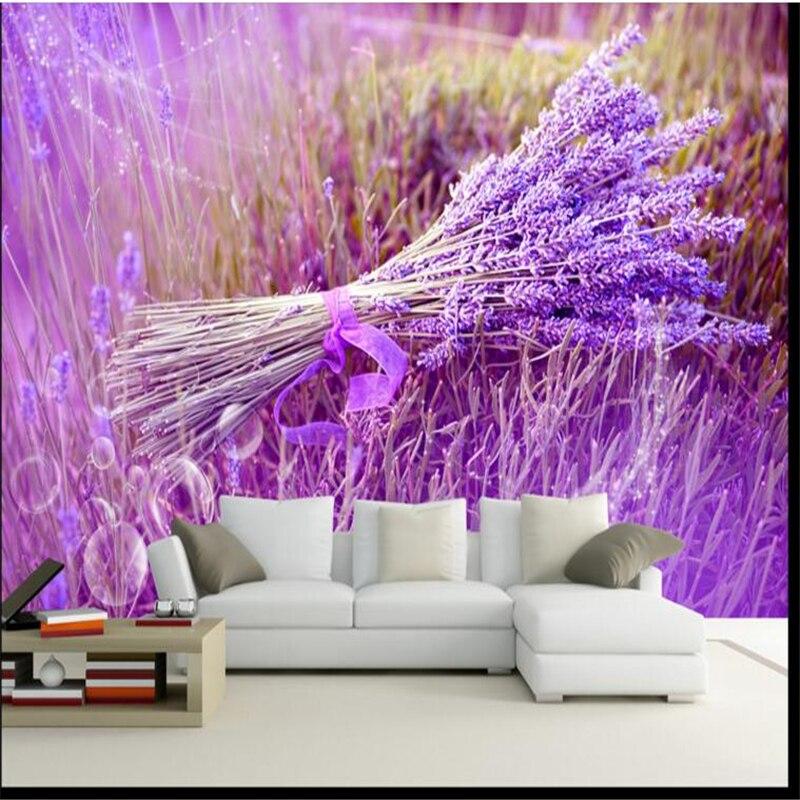 Papel pintado personalizado beibehang, papel tapiz 3D moderno de mar con flores de lavanda romántica púrpura con fondo minimalista