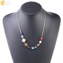 Collar de Sistema Solar CSJA, collares de Planeta de Color dorado, gargantilla de estrella, gemas naturales, abalorios de cuentas para joyería para mujer S240