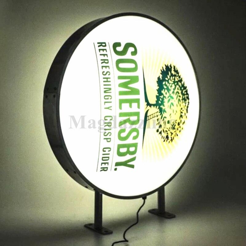 600MM marco redondo de aluminio negro LED Back-lit Shop Signs al aire libre de doble cara impermeable publicidad caja de luz