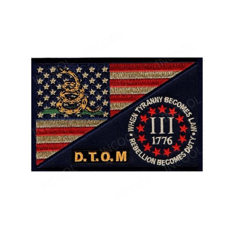 Parche bordado bandera de EE. UU., parche de moral militar del ejército de tres Percenter, parches tácticos, apliques bordados, insignias