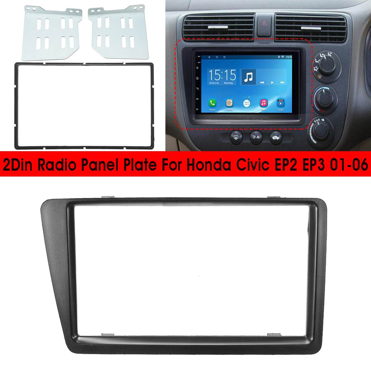 RHD 2 Din Car Radio Fascia PVC Marco de panel CD DVD Dash de Audio recorte cubierta para Honda cívica EP2 EP3 2001, 2002, 2003, 2004, 2005
