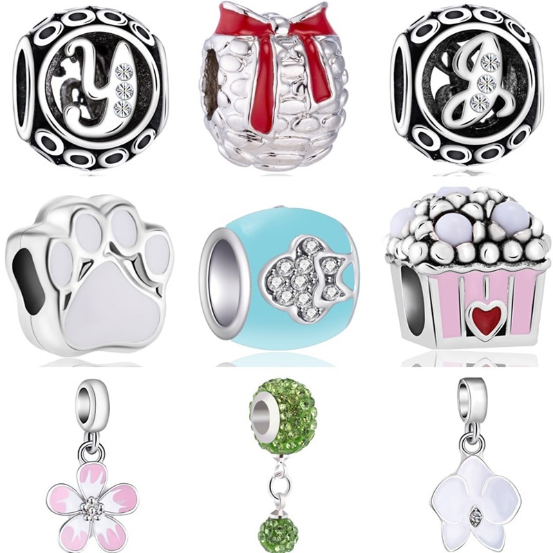 Abalorios de cristal con forma de corazón de estilo dulce y colorido con diseño de flores, oso, pata, pino, compatible con pulseras Pandora para mujer DIY
