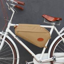 Tourbon Vintage sac de vélo cadre de vélo Tube Triangle sacs à bandoulière kaki toile cirée imperméable banlieue vélo accessoires