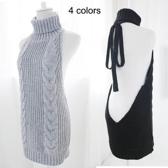 2017 caliente Sexy sin mangas con espalda abierta vestido de suéter dormir vestido Anime Cosplay Reversible largo cuello alto chaleco 4 colores
