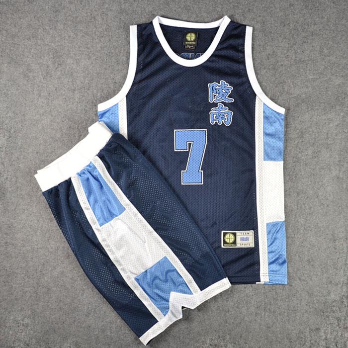 Аниме SLAM DUNK Косплей Костюм Ryonan School NO.7 Sendoh Баскетбол Джерси топы + шорты полный комплект костюмы командная Униформа темно-синий